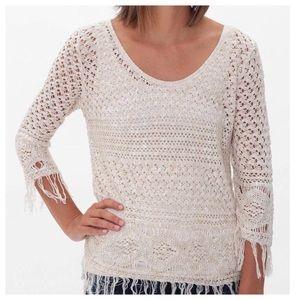 BUCKLE DAYTRIP   Cream Open Weave Sweater